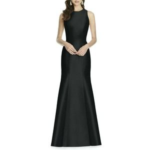 Alfred Sung Black Dupioni Trumpet Evening Gown NWT